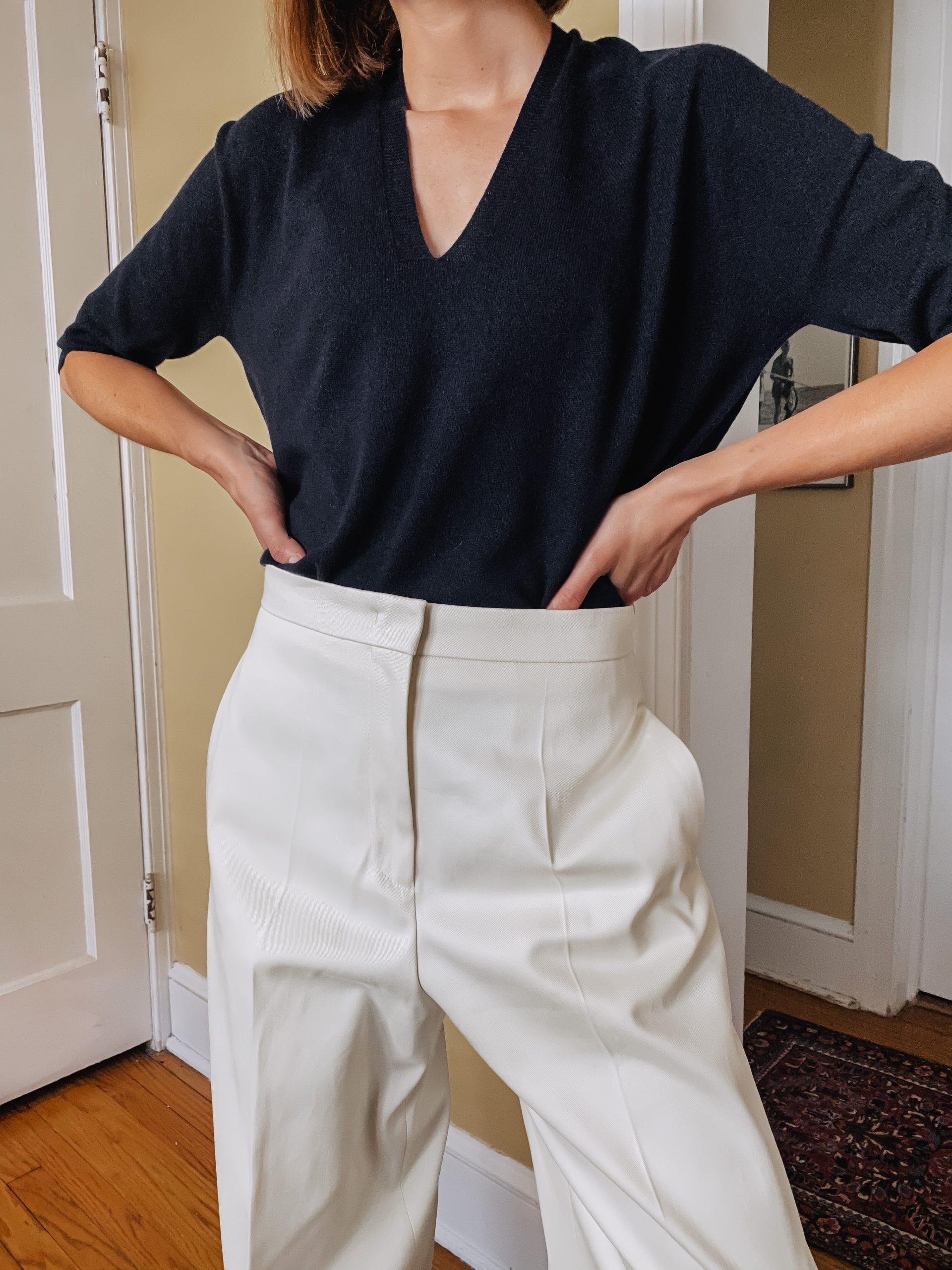 Hugo Boss v-neck sweater & white oversized pants