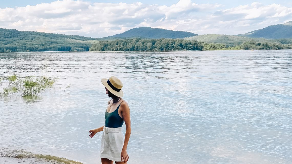 packable straw hat & swimsuit under $50