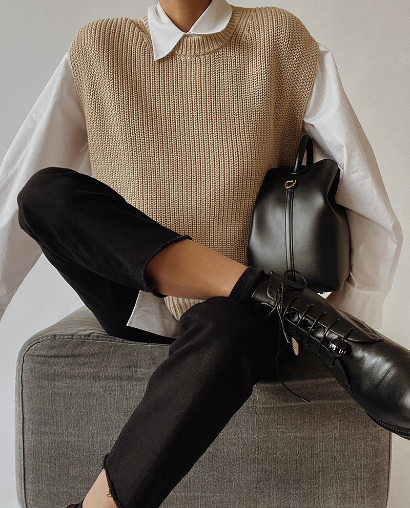 sweater vest & black pants