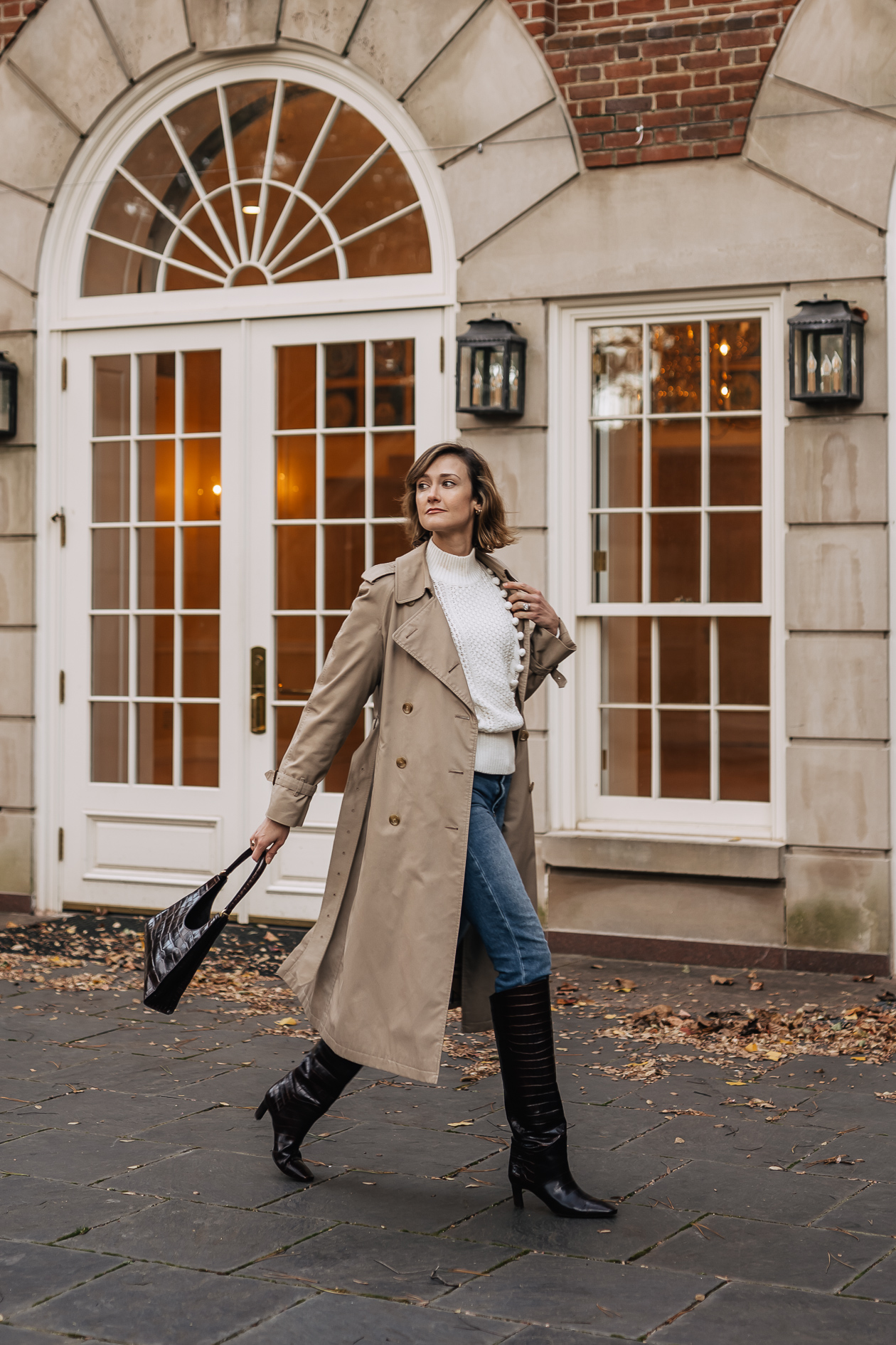 classic trench coat & knee high boots outfit