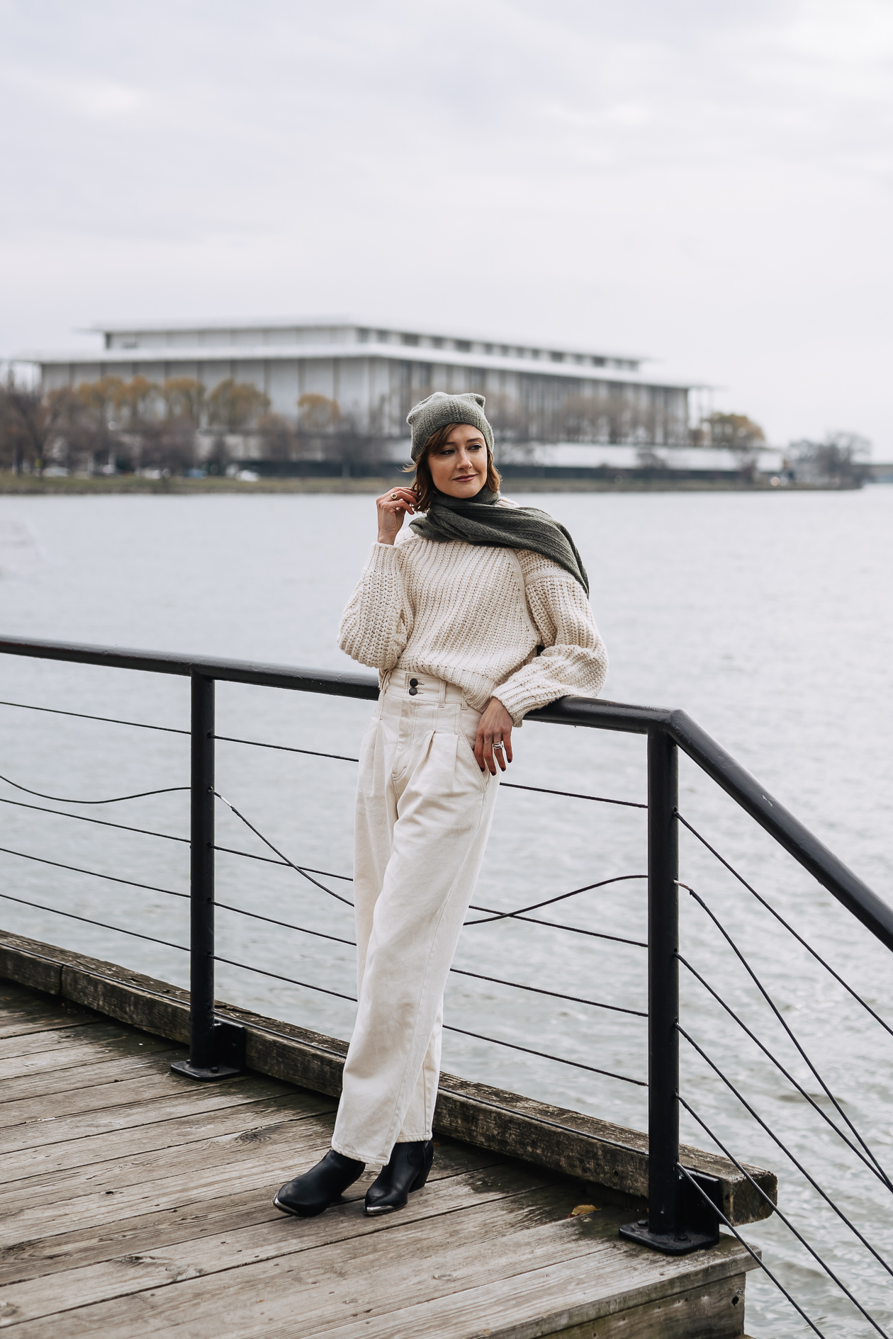winter white outfit with cashmere beanie
