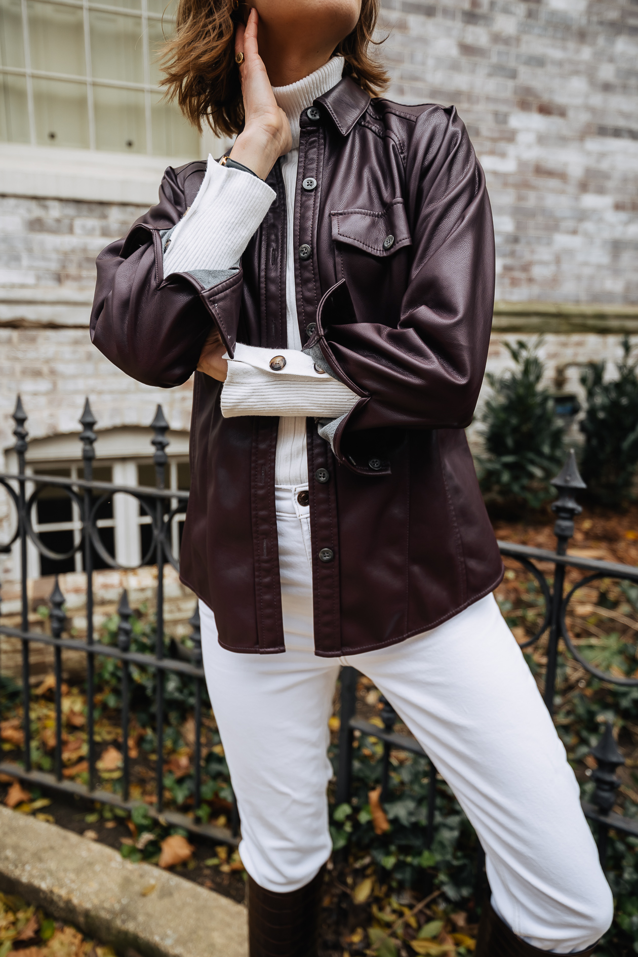 winter white outfit with leather shacket