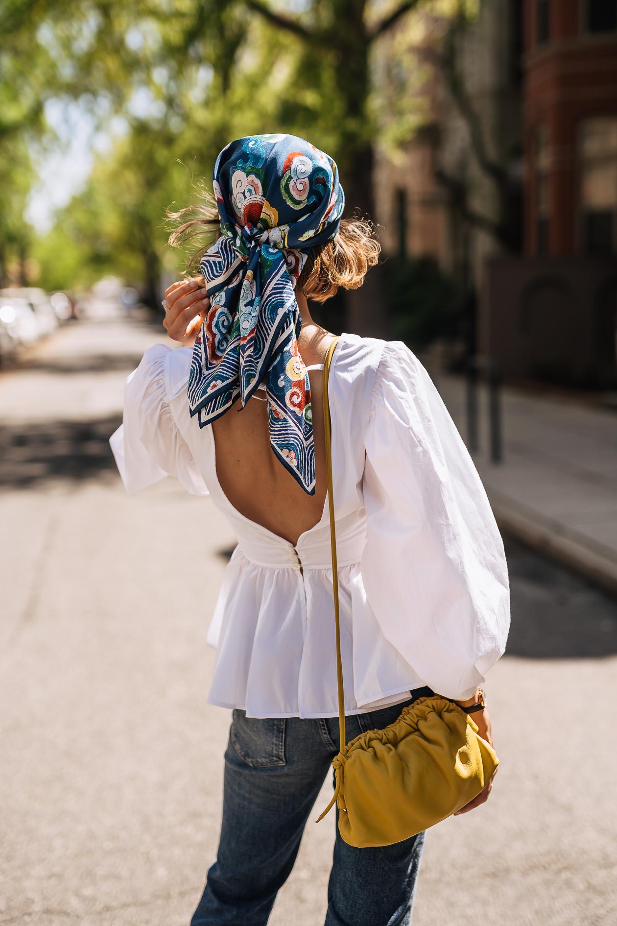 summer hair scarf outfit idea